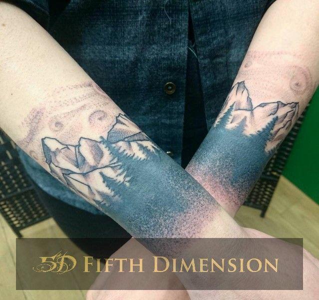 Tattoo By Yuki Armbands Of Blackwork Forest Mountains Galaxy Backdrop Londontattoo Blackandgreytattoo Dotworktattoo Tattoos London Tattoo Vegan Tattoo