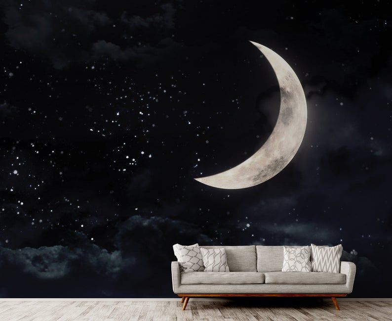 Wallpaper With A Crescent Moon On Dark Night Stary Sky Self Etsy Wall Murals Nursery Wall Murals Floral Wall Art