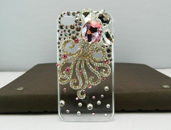 Fashion phone case 3d phone case iphone 5 case iphone 4s case pink Starfish pearls case Special-shaped squid phone case. $27.99, via Etsy.