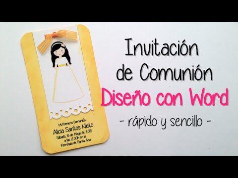 Invitación Comunion Diseño Con Microsoft Word