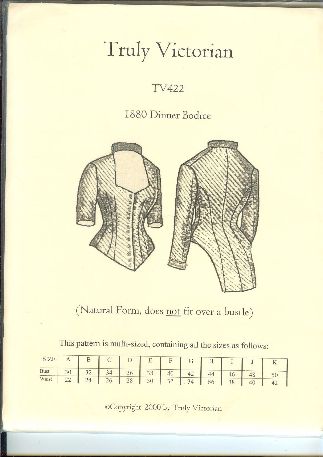Truly Victorian TV422 1880s Evening Dinner Dress Bodice sewing ...
