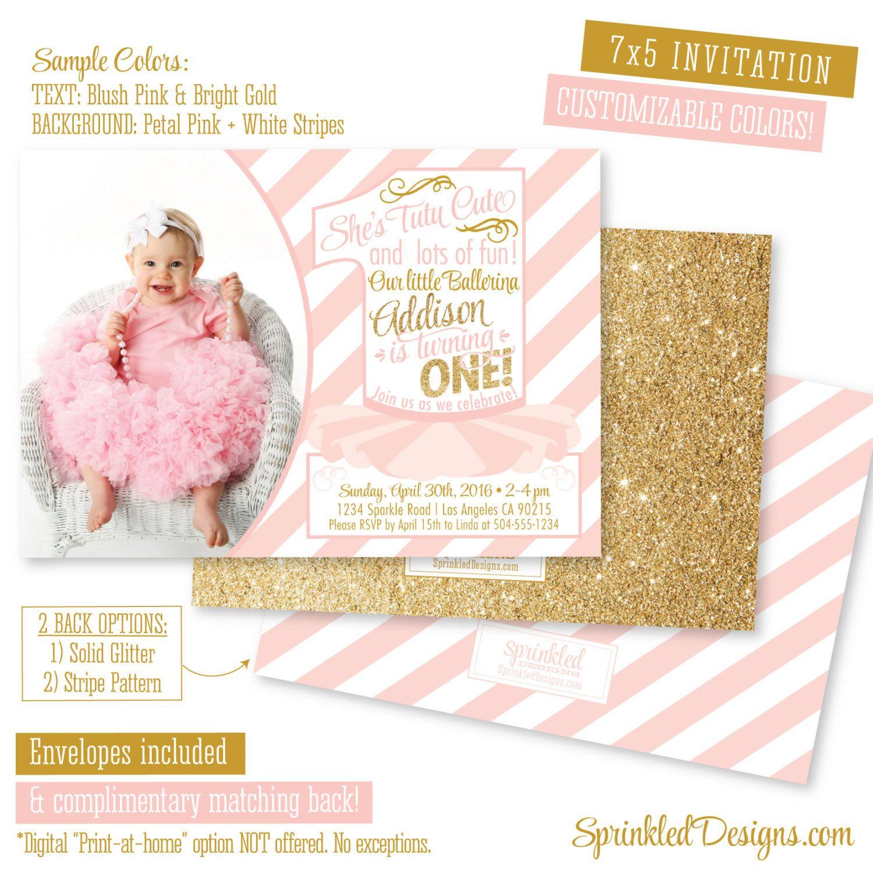 Blush Pink Gold Glitter Ballerina First Birthday Girl Invitation