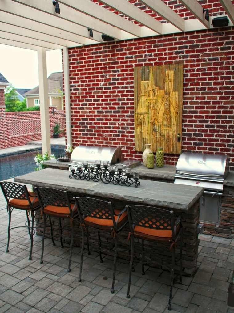 coin cuisine du0027été et extérieur avec salle à manger jardinage et - Cuisine D Ete Exterieure