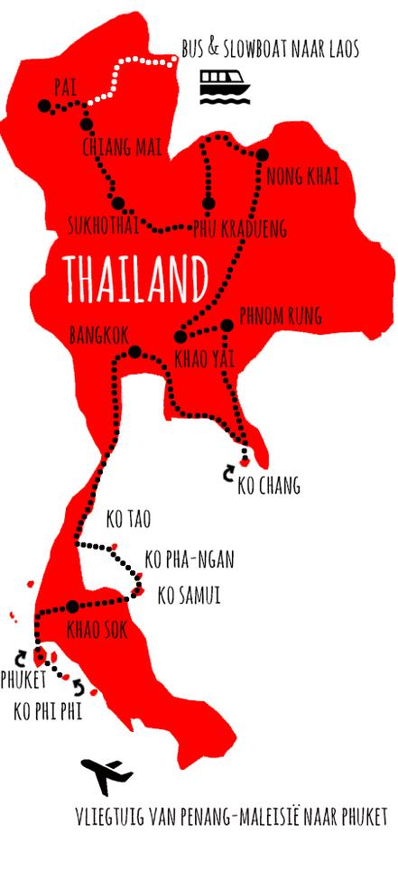 route & kosten thailand - www.onzedroomreis.com Backpacken door Azië en Zuid-Amerika