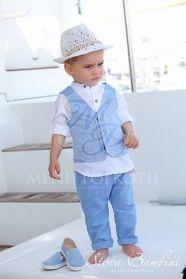 Μένη Ρογκότη - Βαπτιστικά ρούχα για αγόρι της Stova Bambini μοντέρνο σετ με  λινό σιελ παντελόνι 1bc109db2b2