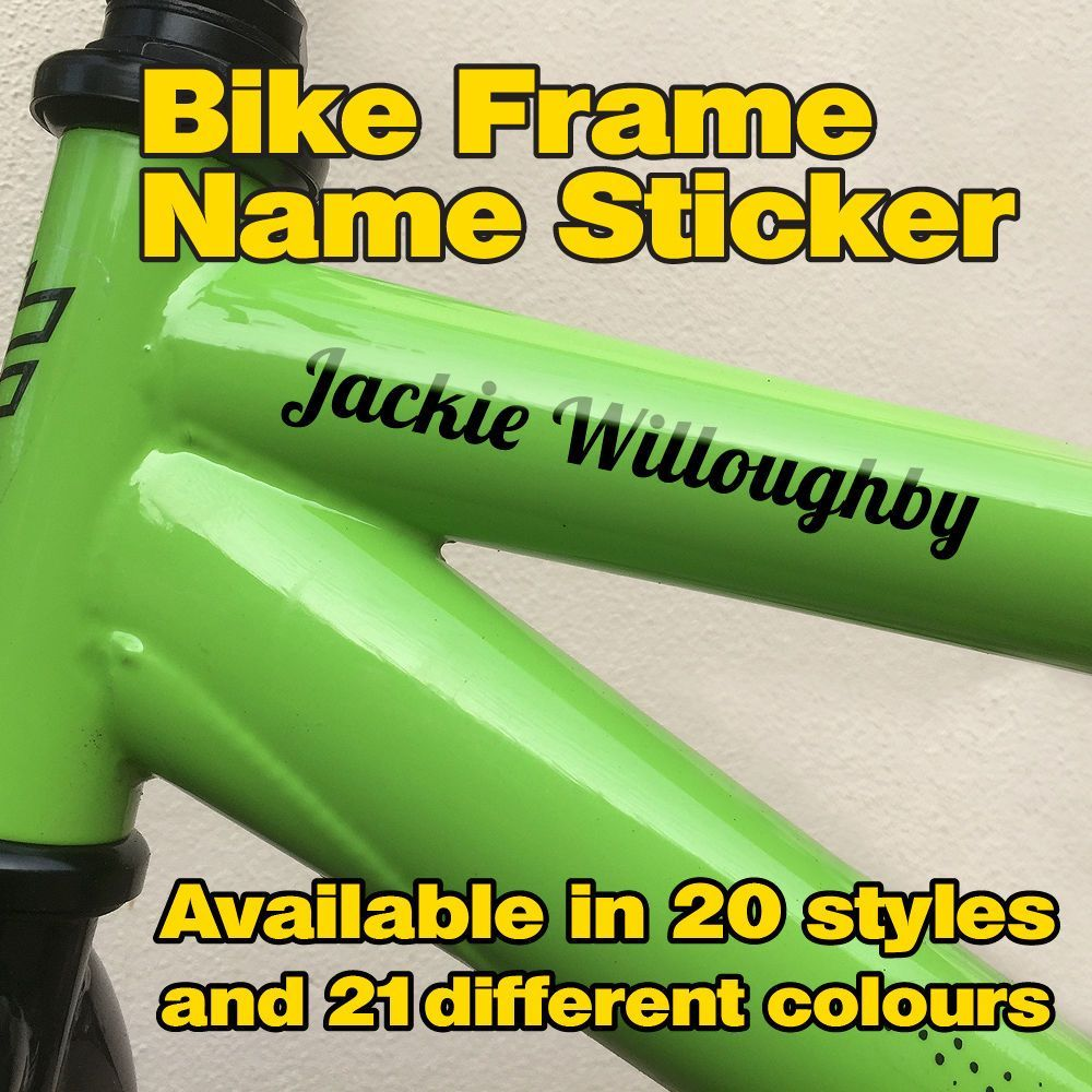 4x Personalised Custom Bike MTB Road BMX cycle Frame Name Stickers Decals 4!!!!