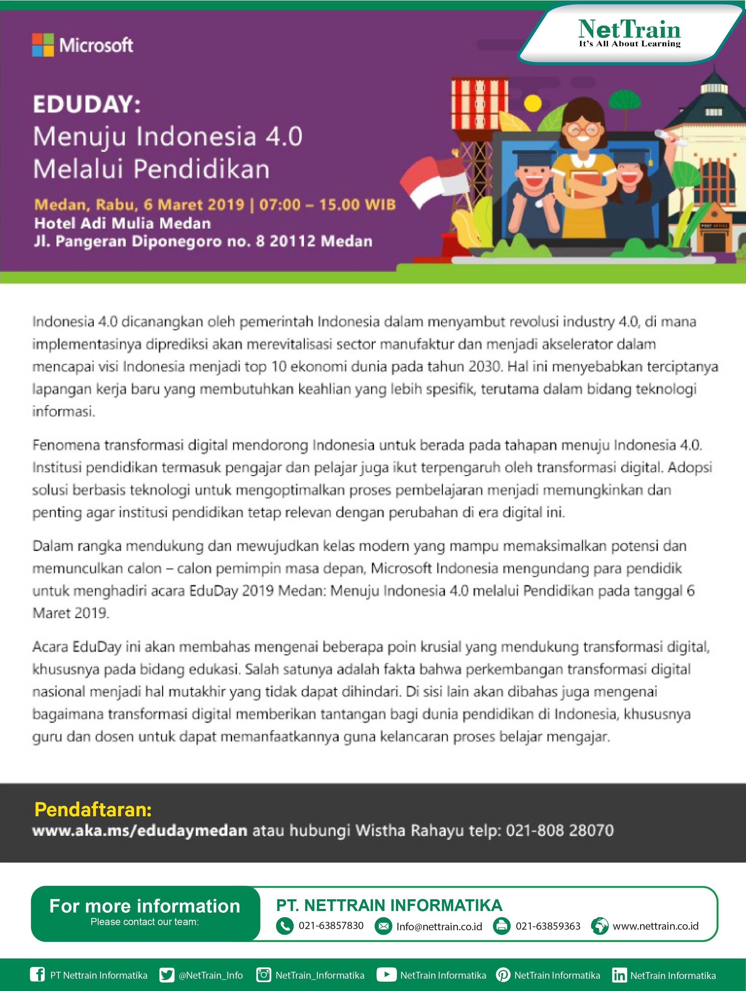 Microsoft Eduday Menuju Indonesia 4 0 Melalui Pendidikan Infonettrain Education Microsoft Eduday Pendidikan Pemerintah Microsoft