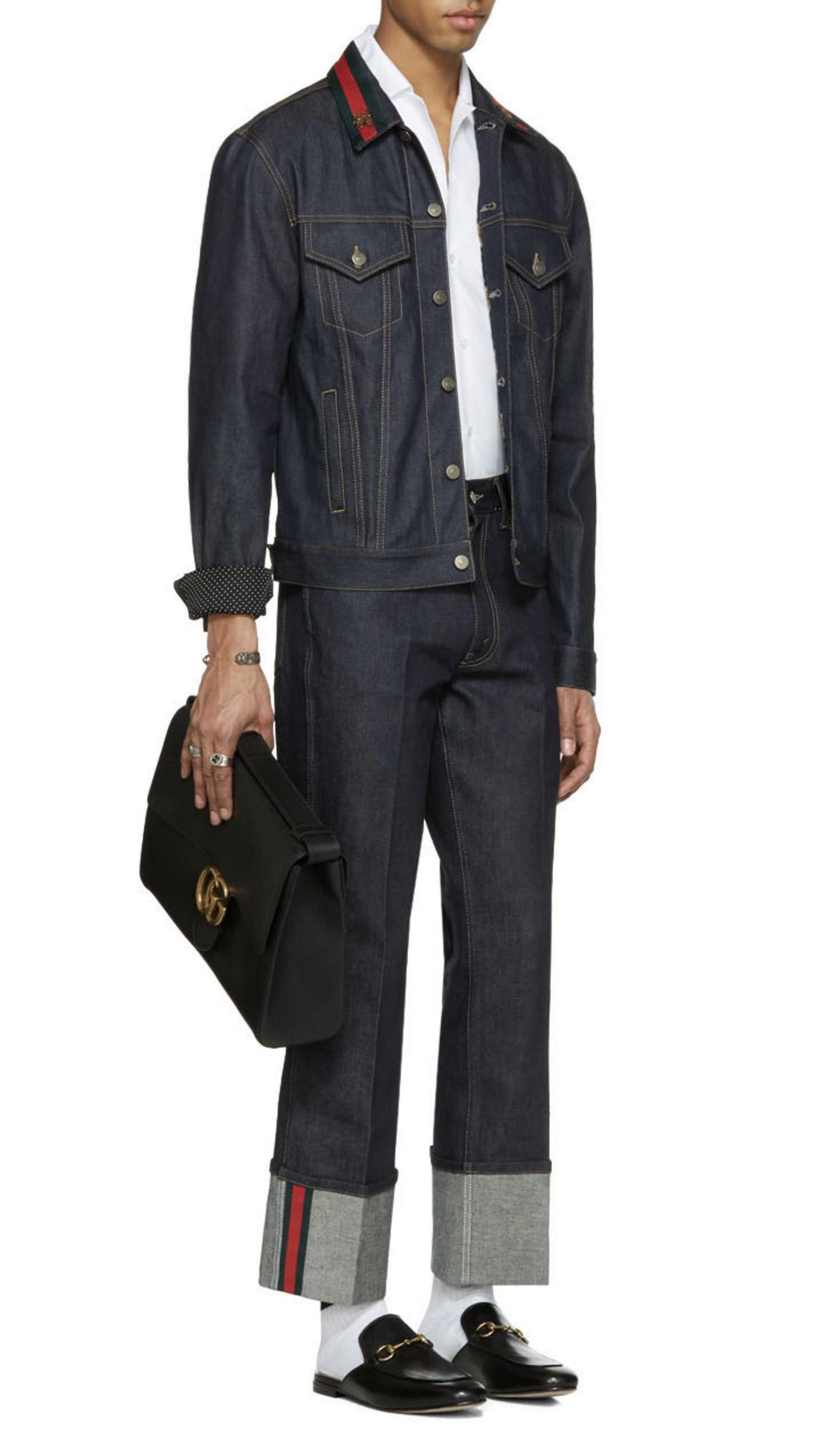 gucci blue denim bee jacket from ssense men style fashion