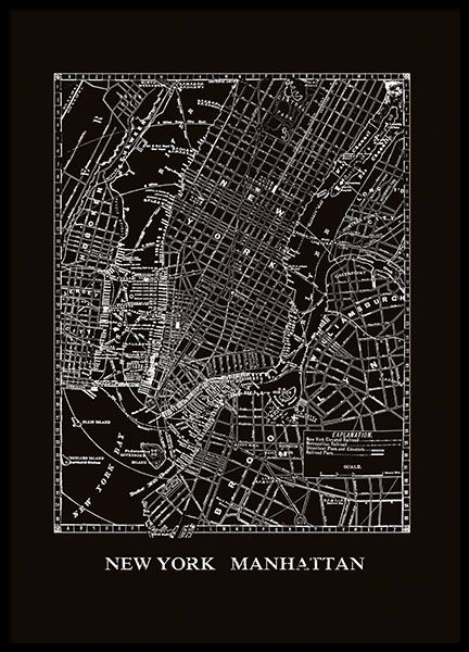 Print With A Black And White Map Of Manhattan New York Poster Nyc Map Map Of New York