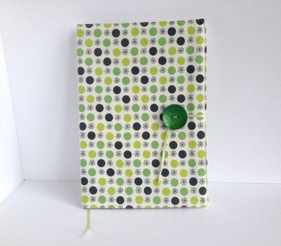 Rivestimento in tessuto riutilizzabile per un notebook A5 con copertina rigida standard (incluso).  Bel tessuto esterno con puntini in due tonalità
