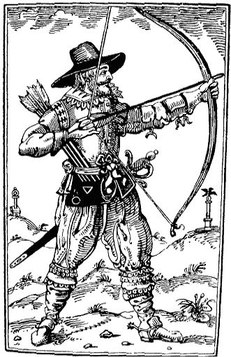 Stuart Era Woodblock Print Of Archer