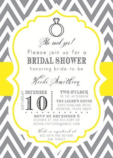 gray charcoal and yellow mustard chevron engagement bridal couples showerparty invitation