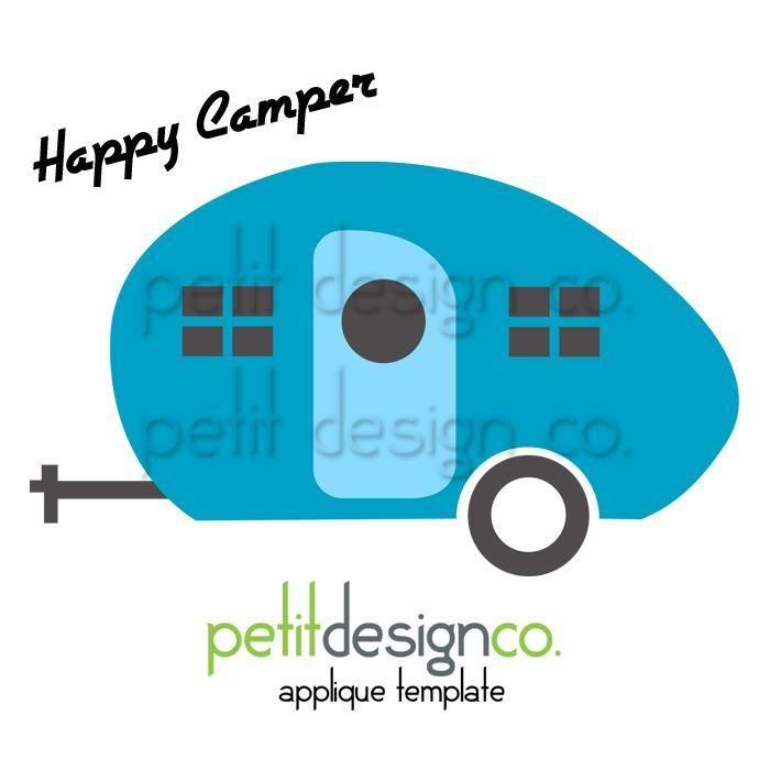 happy camper applique template camper quilts crafts pinterest