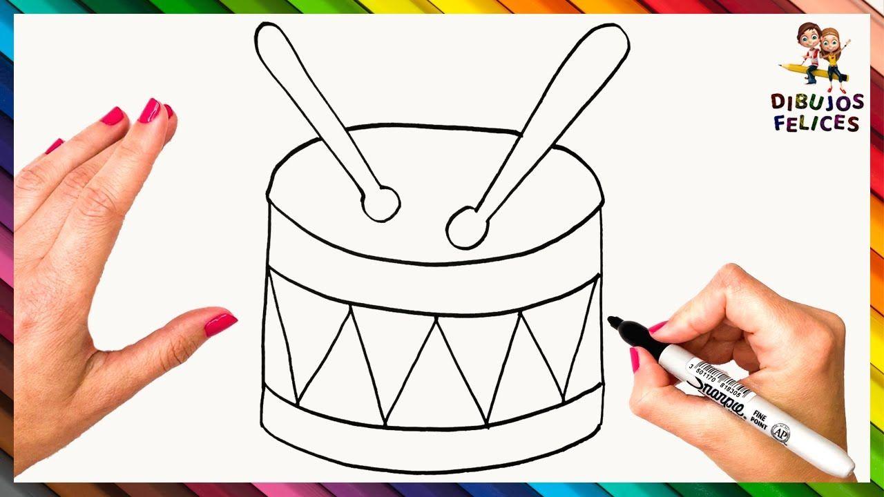 Como Dibujar Un Tambor Paso A Paso Dibujo De Tambor Dibujos De Instrumentos Musicales Tambor Dibujo Tambor
