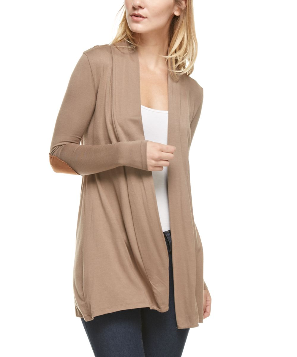 Taupe Elbow-Patch Open Cardigan