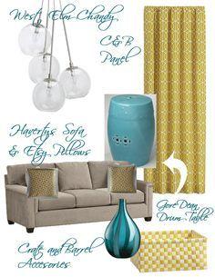 Inspiration Board Gray Mustard And Aqua Living Rooms