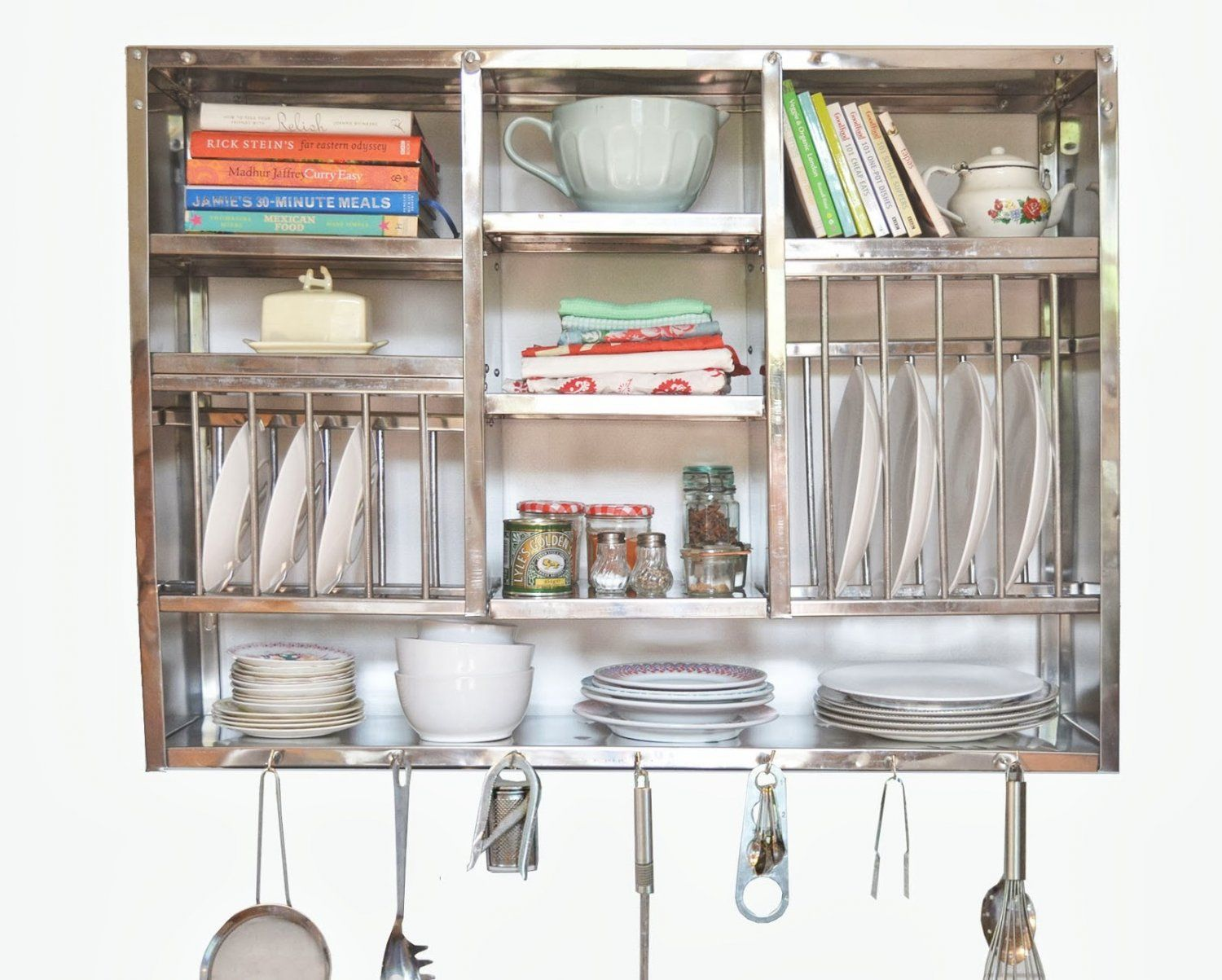 Stainless Steel Kitchen Plate Rack Wall Hanging 76x24x107 Cm