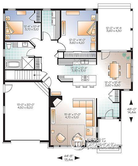 Images Du Plan De Maison Unifamiliale W3235 V2 Vue Avant Bungalow House Plans Craftsman Bungalow House Plans Craftsman Style House Plans
