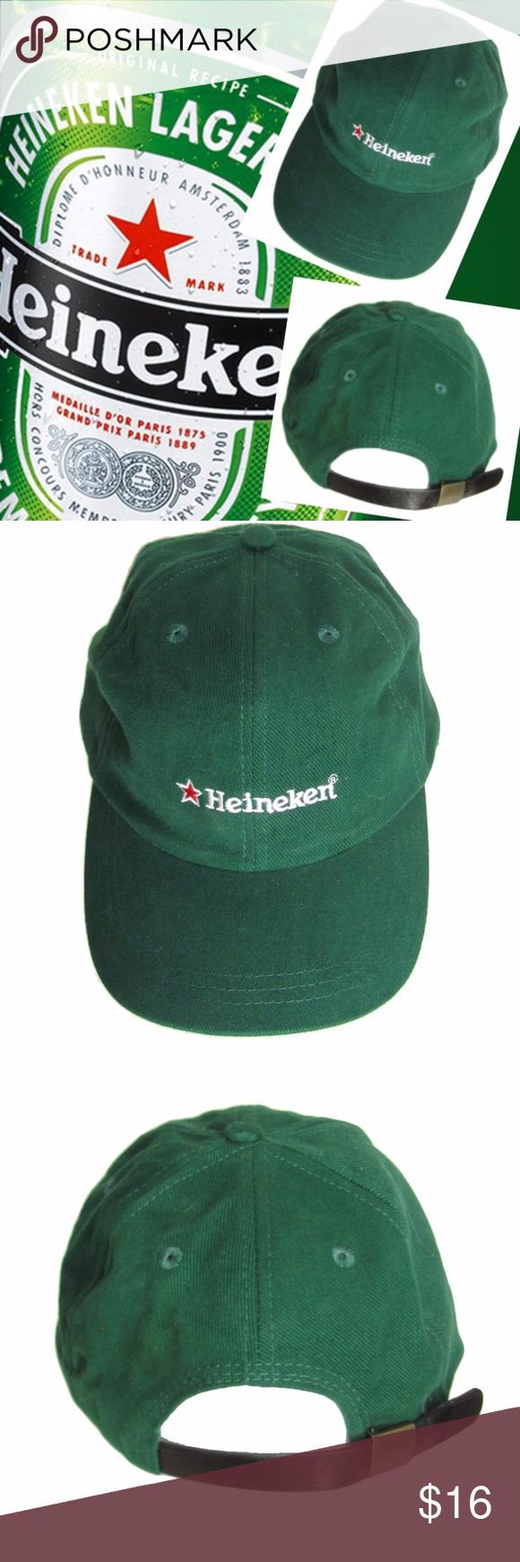 Heineken Beer Baseball Cap Green Hat Leather Strap Heineken Beer baseball  cap. Solid green cotton hat with embroidered Heineken logo. a75d6580e0a