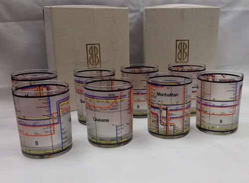 Vintage-and-Rare-Bill-Blass-NYC-NY-Subway-Queens-Manhattan-Glasses-8-in-Orig-Box
