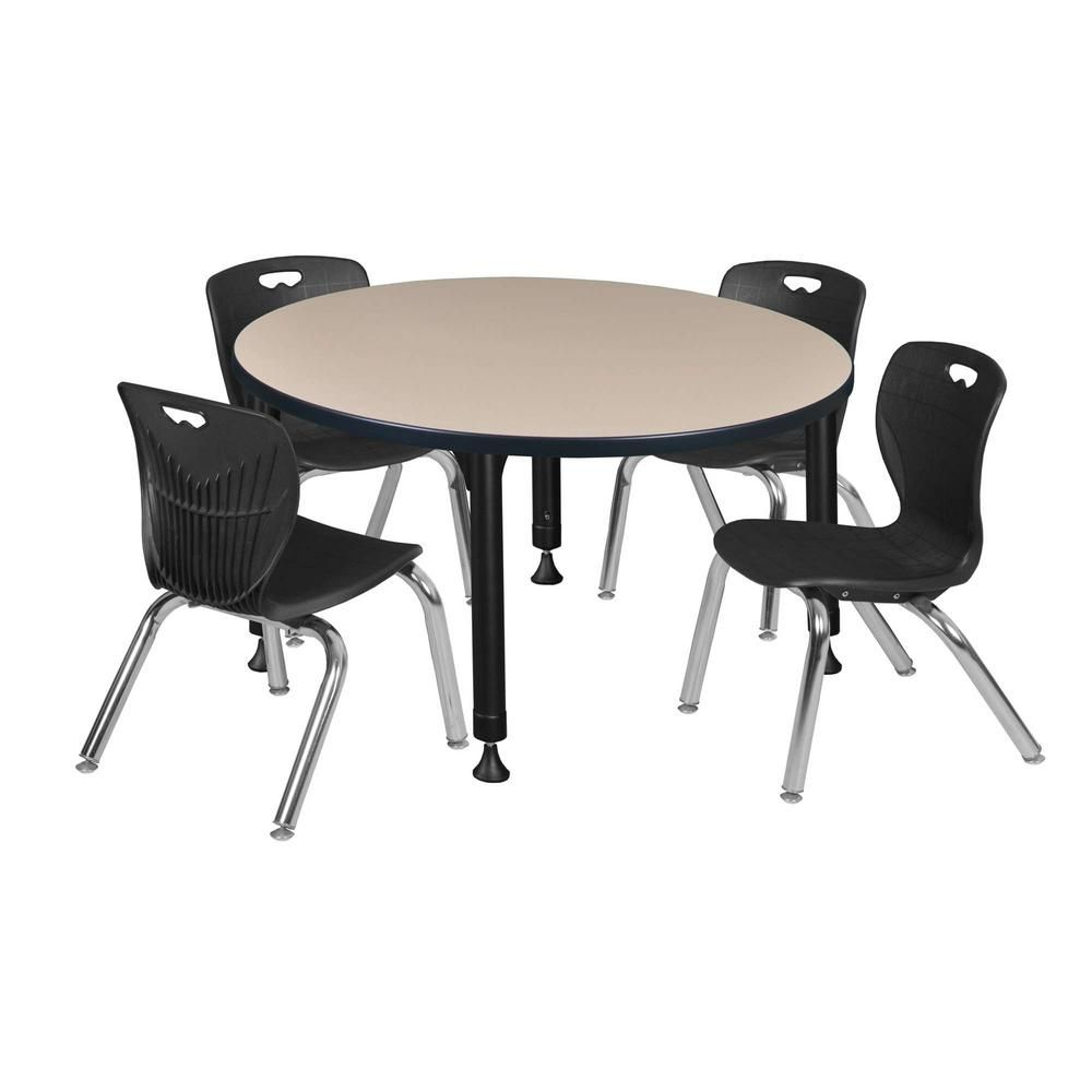 Regency Rumel 42 In Round Height Adjustable Classroom Table Beige 4 Kro 12 In Stack Chairs Black B Classroom Tables Furniture Deals Table And Chair Sets