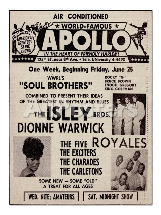Apollo Theatre Ad Soul Brothers Isley Brothers Dionne Warwick Five Royales Charades Carletons Poster Allposters Com Apollo Theater Concert Posters Soul Brothers