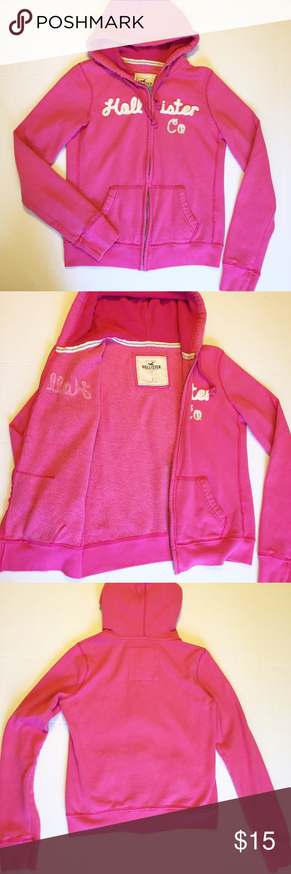 "Pink Hollister Zip Front Hoodie Sweater Pink Hollister zip front hoodie sweater! In good used condition, lightly faded from washing. The hood is lined with a thermal layer. There is a tiny spot on the back that looks like it will probably wash out. Size Large. Laying Flat Measurements: from shoulder to hem is 22.5"" long, Bust is 19"" across. 60% Cotton, 40% Polyester. BUNDLE TO SAVE! Hollister Tops Sweatshirts & Hoodies"