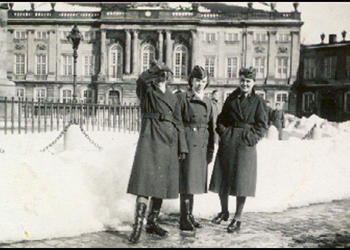 Wehrmacht telephone operators sightseeing at Amalienborg Palace during the occupation of Denmark.
