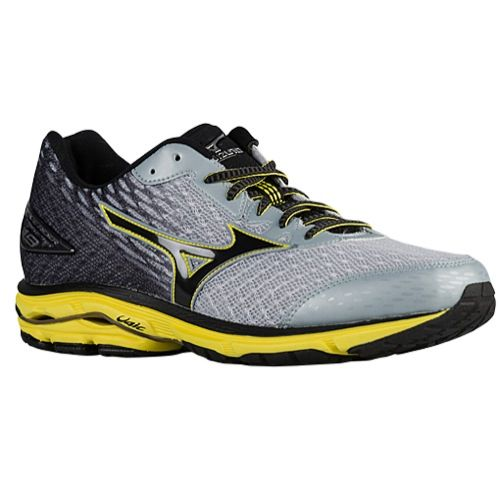 Men's Mizuno Wave Rider 19 neutral cushion shoe shown in Pearl/Black