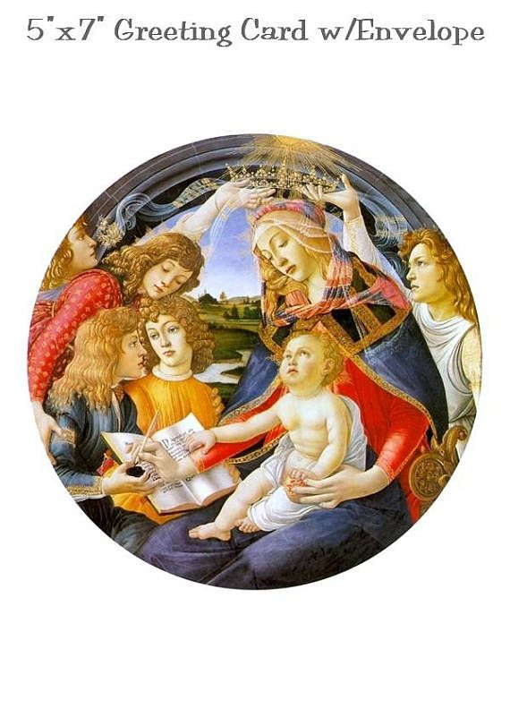 5x7 greeting card with white envelope included blank inside greeting card with white included blank inside all packaged in a clear cello envelope for protection madonna of the by sandro botticelli m4hsunfo