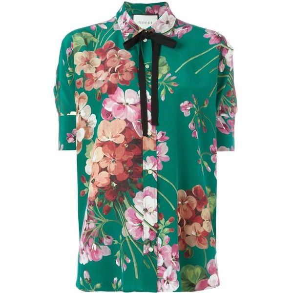 68be5b8c Gucci Silk Shirt With Bloom Print ($925) ❤ liked on Polyvore featuring tops,  green, short sleeve shirts, silk top, collared shirt, blue floral top and  blue ...