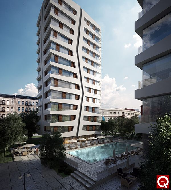 Apartment Tower Rendering: Residential Tower Complex Rendering , Visualisation, VRay
