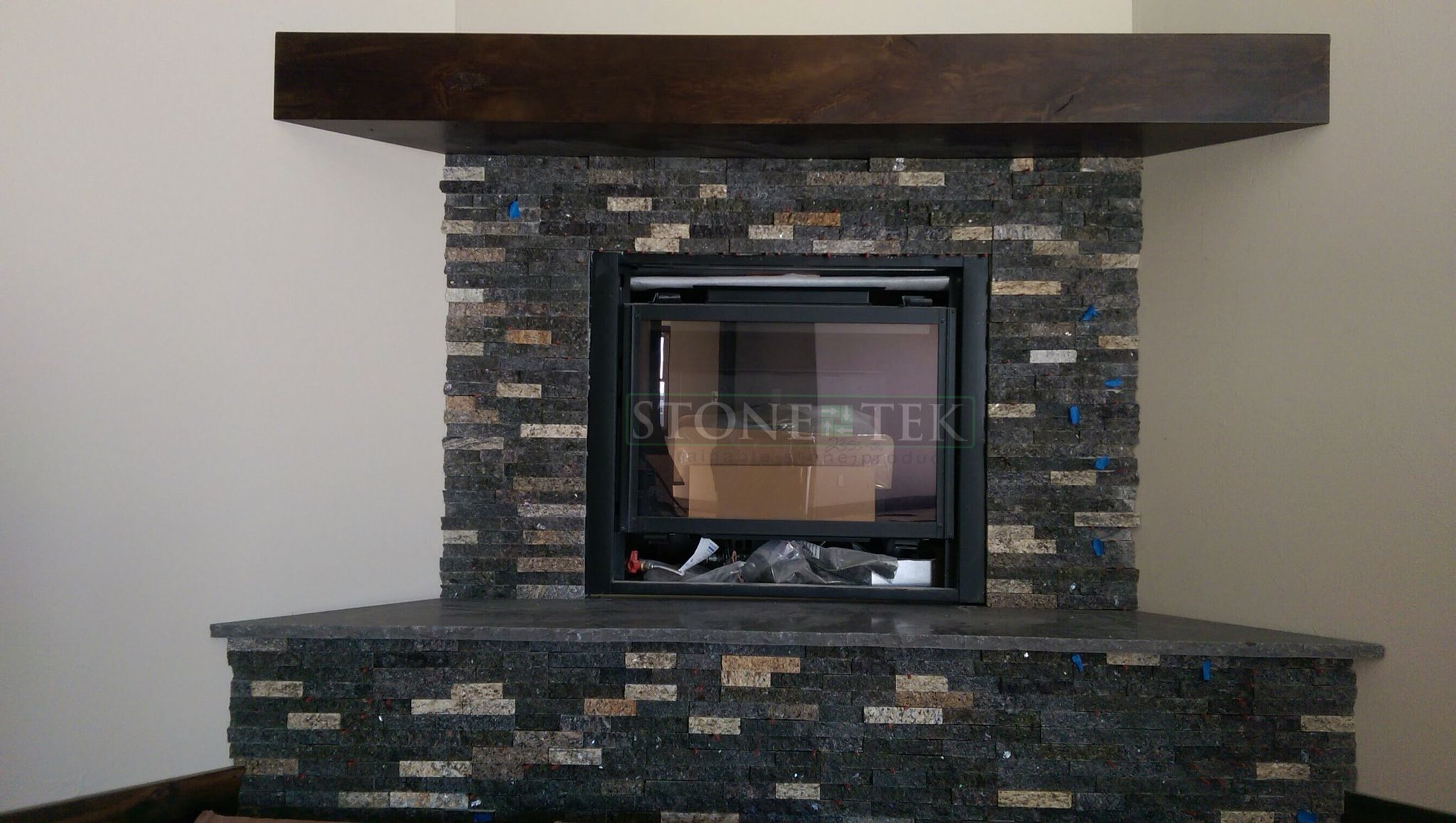 Custom Denali Blend Recycled Granite Split Stone On Panels In A