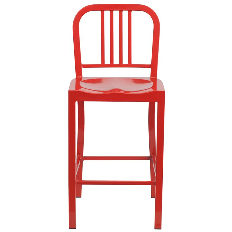 Surprising 24 High Red Metal Indoor Outdoor Counter Height Stool Ch Squirreltailoven Fun Painted Chair Ideas Images Squirreltailovenorg