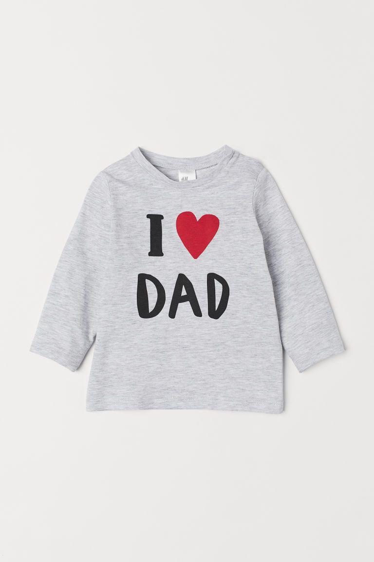 cb8723743da Jersey top - Grey marl/I Love Dad - Kids | H&M 1 | Baby clothes ...