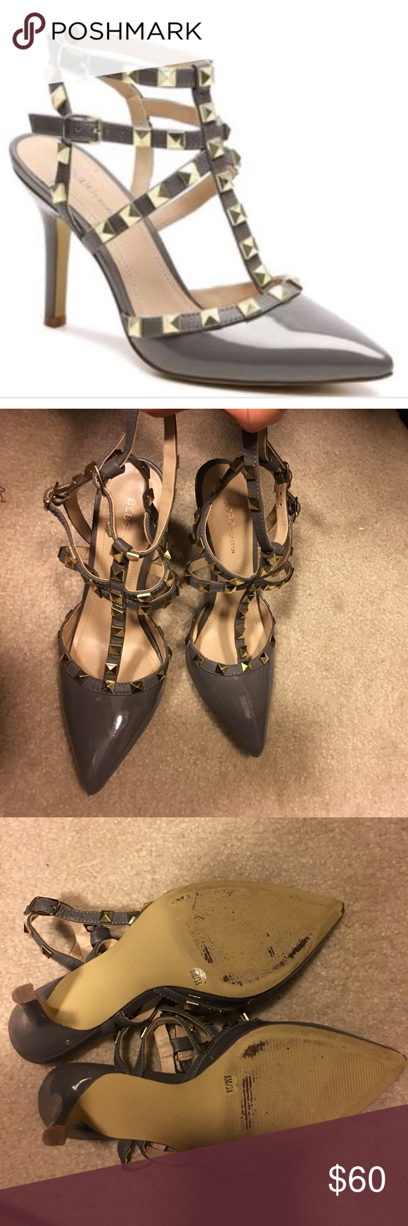 Grey rockstud heels BCBG grey rockstud heels with gold studs, a great alternative to Valentino ! Worn once but too snug on me so selling! These are GORGEOUS !!! BCBGeneration Shoes Heels