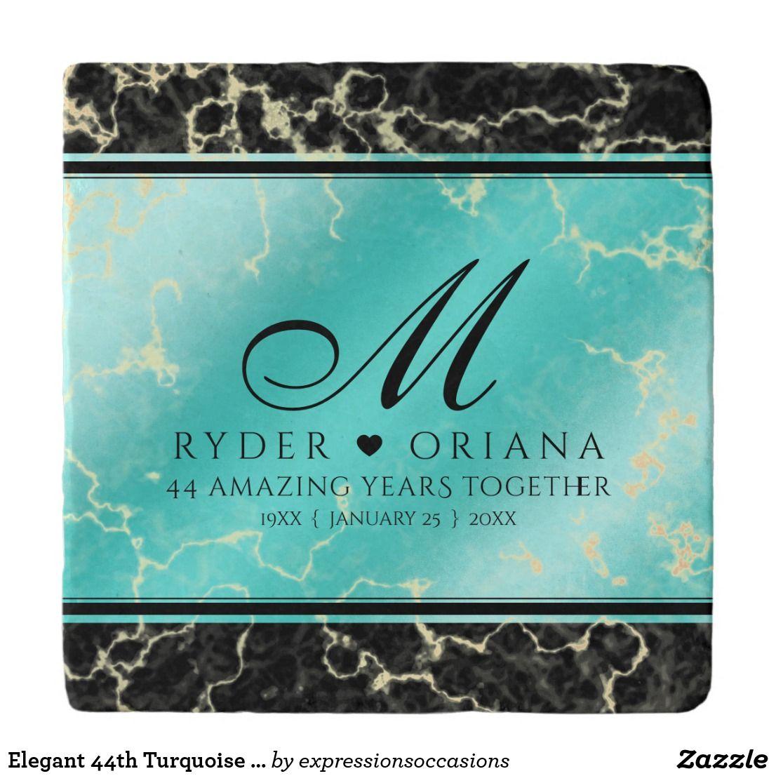 Elegant 11th 44th Turquoise Wedding Anniversary Trivet