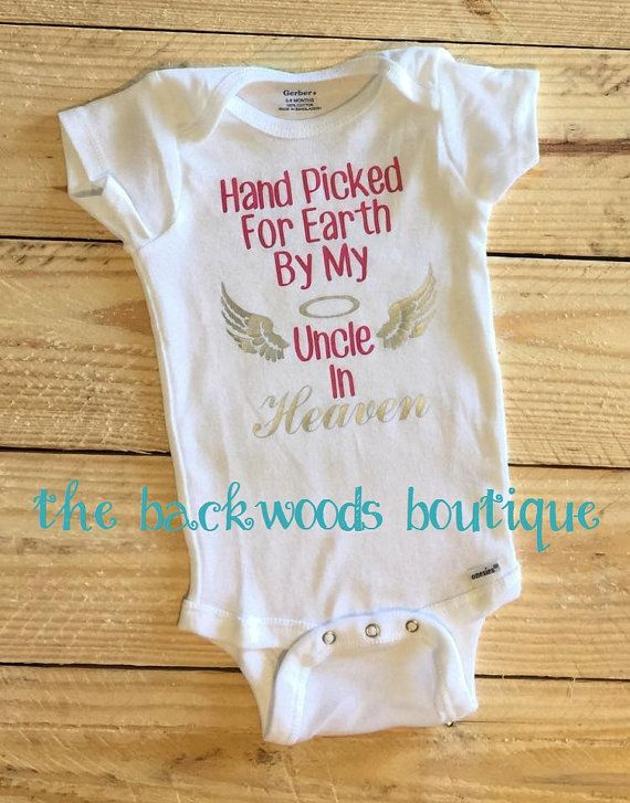 8b01825de8 Hand Picked for Earth By My Uncle Papa Sister Aunt Brother in Heaven ne  Piece Bodysuit