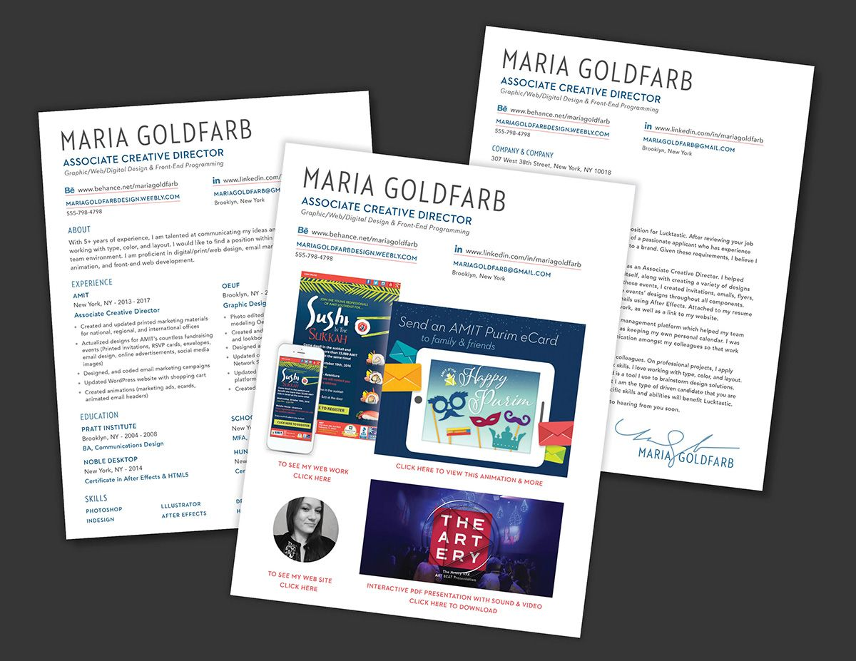 Interactive PDF graphic design resume and cover letter