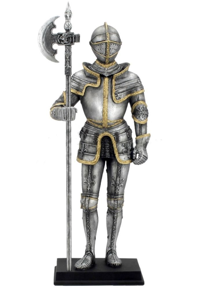 "10.75"" Armored Knight w/ Pollaxe Statue Figurine Medieval ..."