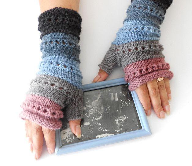 Gestreift Halbhandschuhe, Armstulpen, Pulswärmer | Handschuh, Hände ...