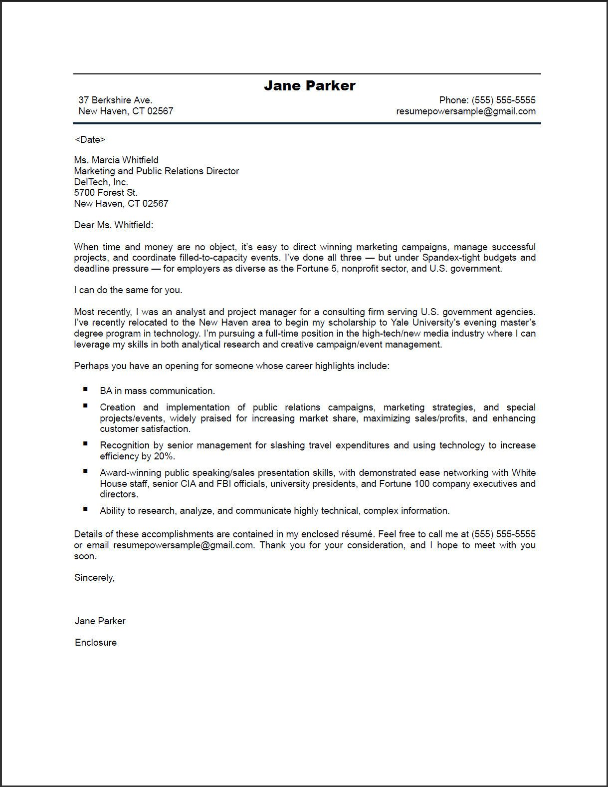 PR Marketing Cover Letter | ResumePower | inspirational ...