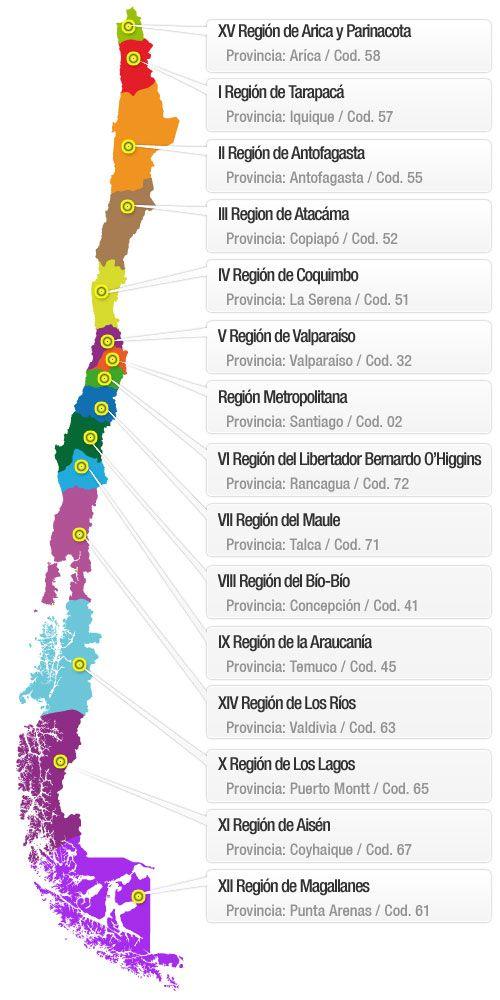 Mapa chile provincias encuestas pa s chile pinterest for Mapa de santiago de chile