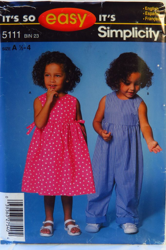 Simplicity 5111 Toddlers Dress and Romper