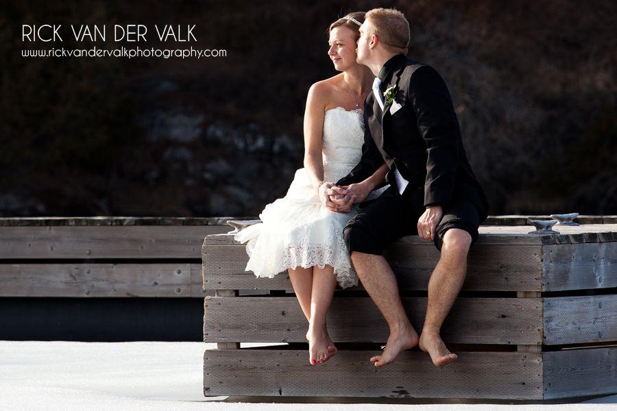 Wedding Portrait on the frozen water in Rosseau Ontario.