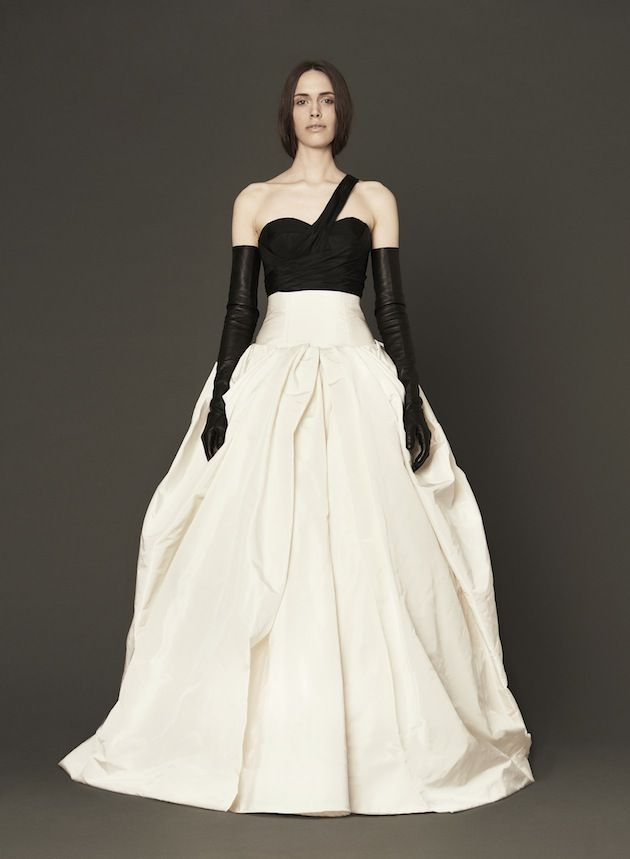 Bustier+ strap and black leather opera gloves = badass. Vera Wang ...