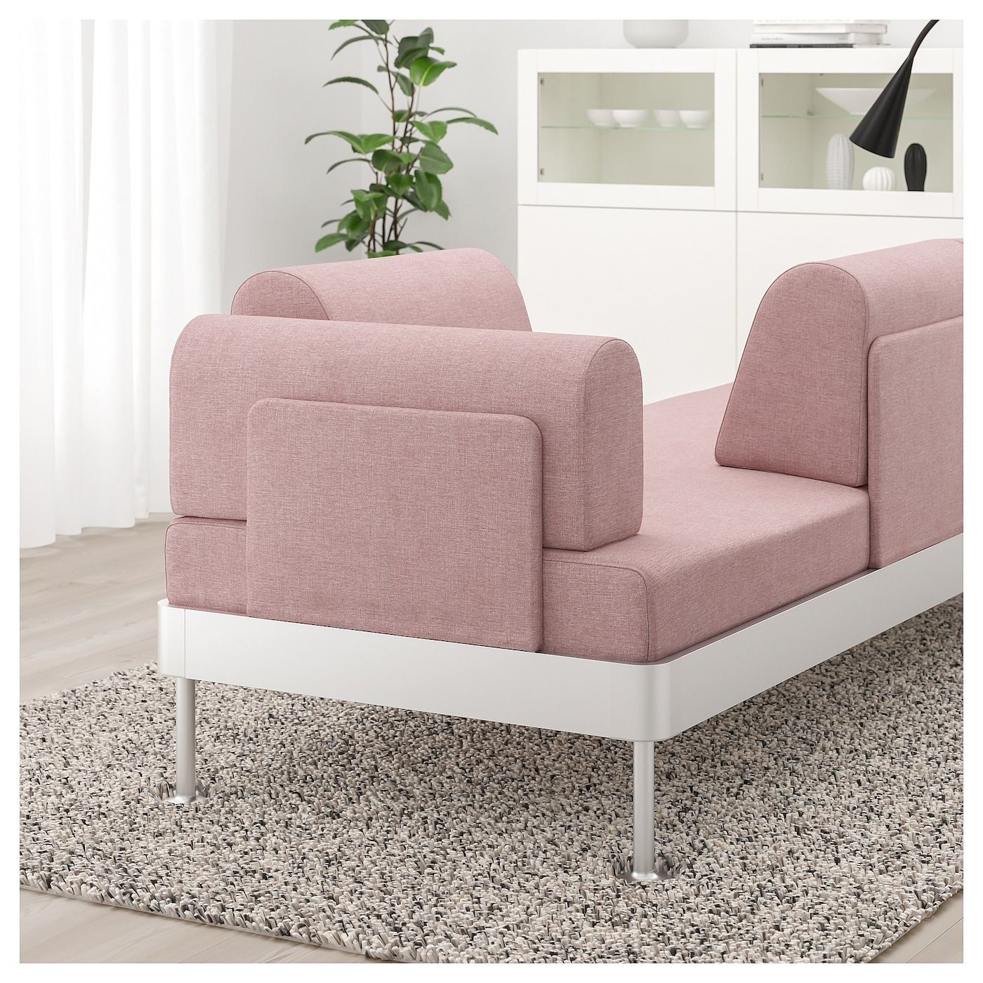 Delaktig Sofa With Side Table And Lamp Gunnared Light Brown Pink Ikea Cushions On Sofa Sofa Seat Cushions Ikea