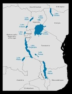 African Great Lakes *empty into the 'White' Nile: *Lake Victoria