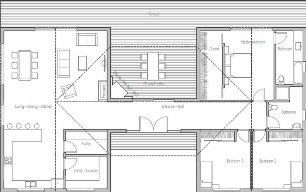 Planos de casas de 3 dormitorios y un piso planos de for Planos para casas de un piso