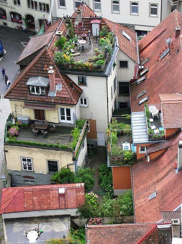 dachgarten, dachterrasse, pflanzen, sitzmöglichkeit, balkon, Gartengerate ideen